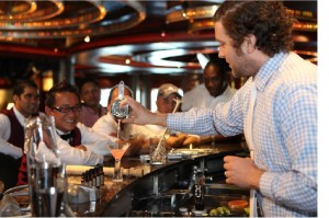 Bartenders enjoying the first WORLD CLASS training session aboard the 'Caribbean'