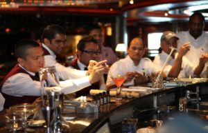 On board bartenders tasting cocktail created during WORLD CLASS training