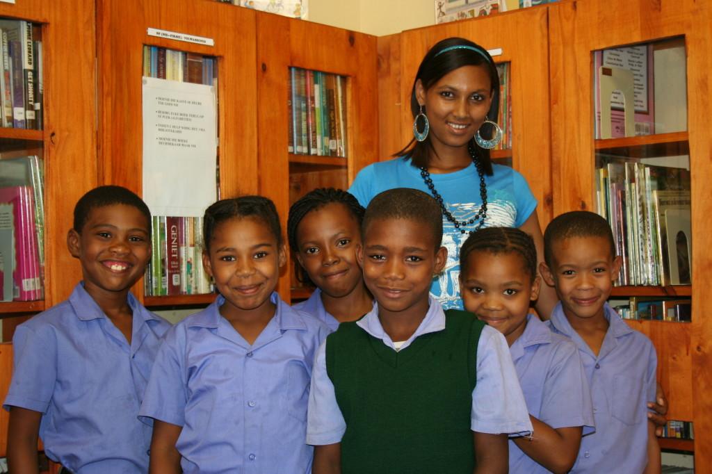 Children at Lorraine Primary School with Headmistress