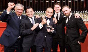 2015 winner Franck Dedieu celebrates with judges, left to right: Jose Sanchez Gavito; Ago Perrone; Franck Dedieu; Tom Walker and Steve Schneider