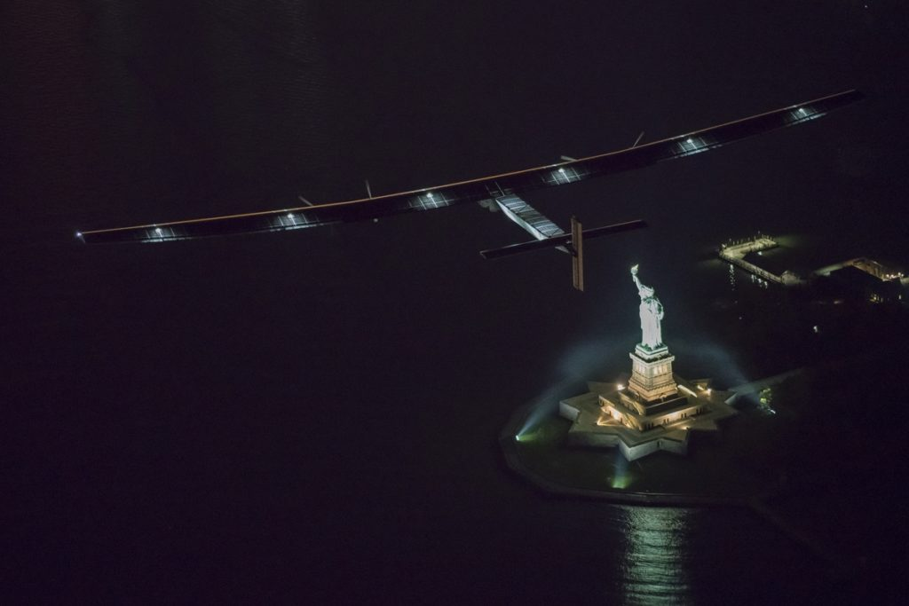 Pilot Andre Borschberg lands in New York completing the 14th leg of the Round-the-World Journey and completing the US crossing
