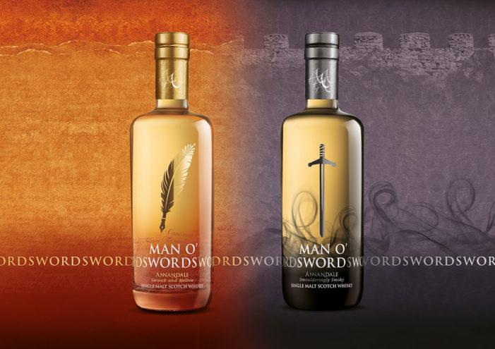 Springetts Design Man O' Words and Man O' Swords for Annandale Distillery