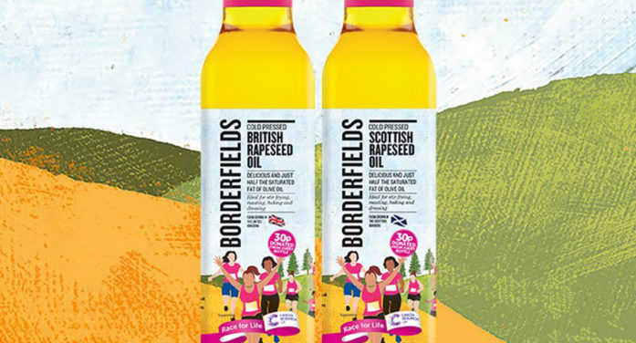 Pure Designs Customised Bottle Label For Borderfields' Cancer Research UK Partnership